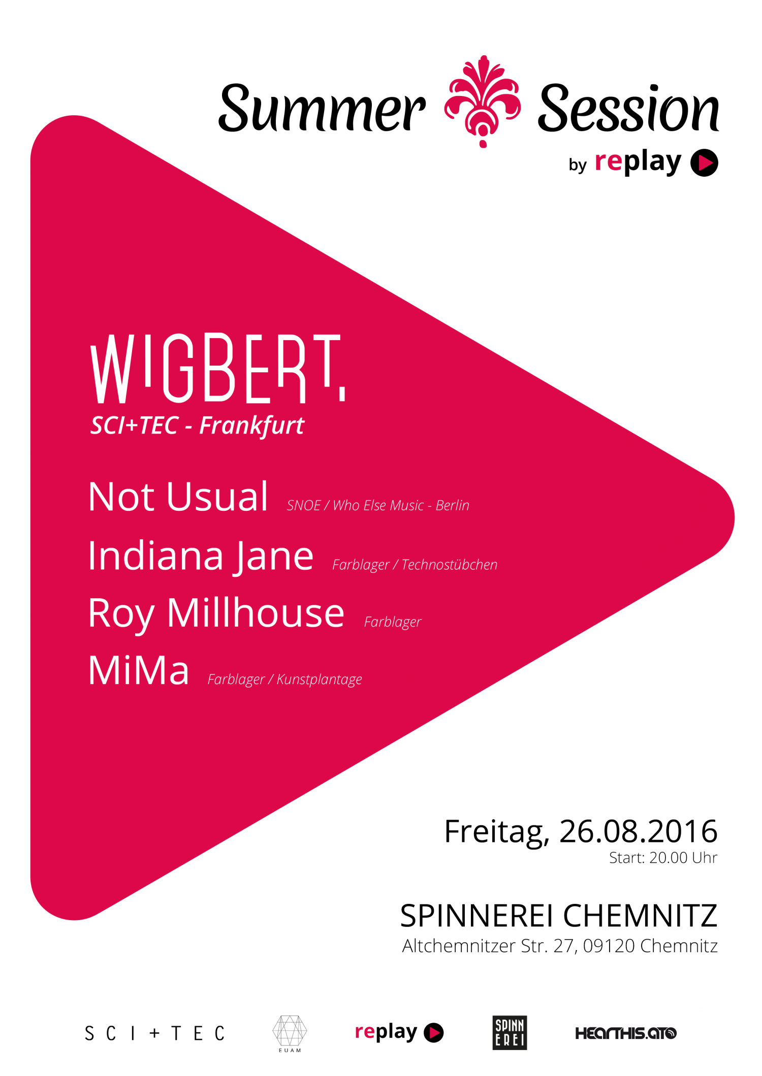 26.08.2016 - Summer Session by replay mit Wigbert & Not Usual - Spinnerei, Chemnitz