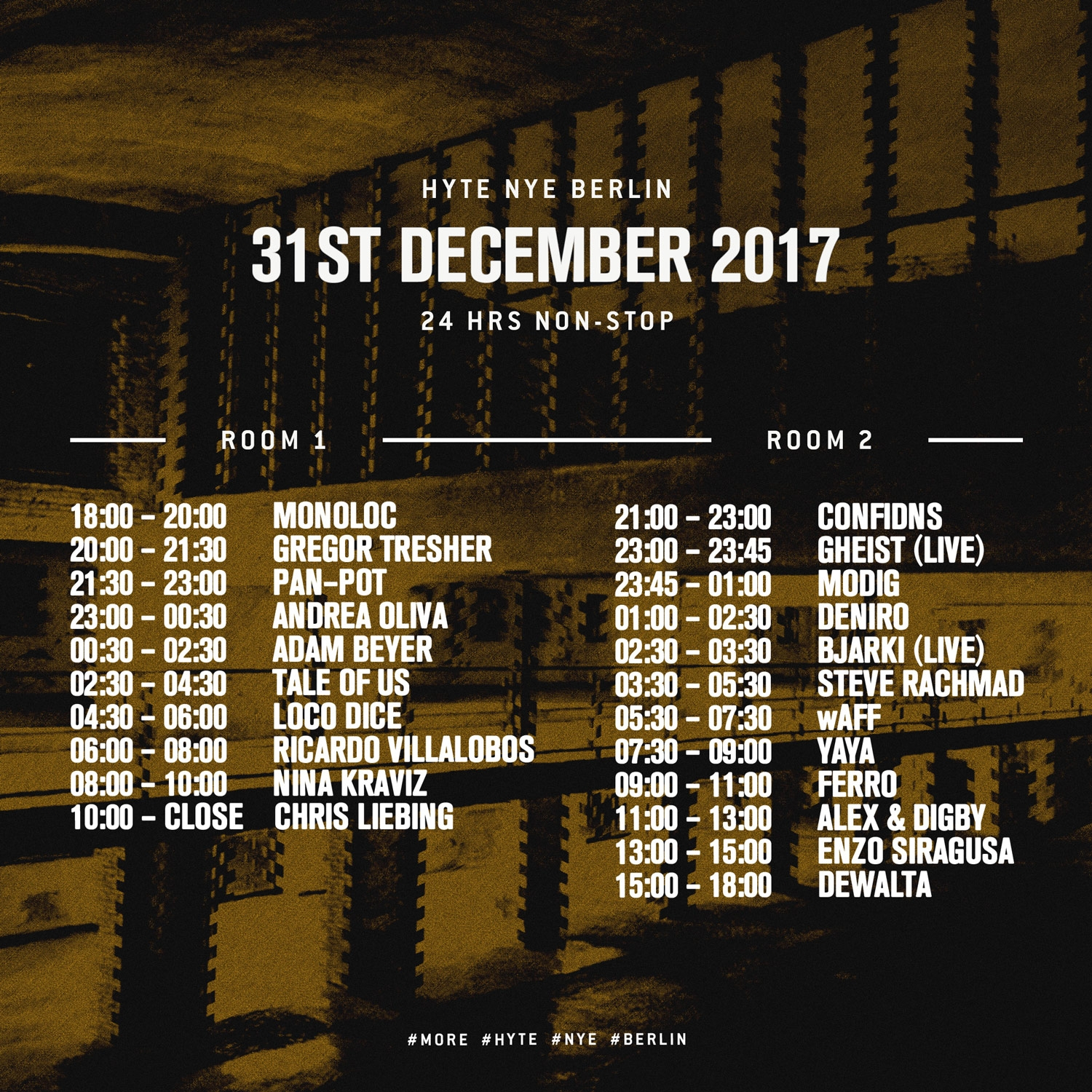 HYTE NYE Berlin 2017 Timetable